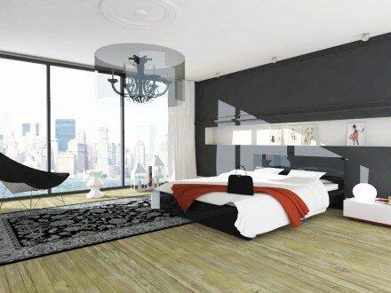 2009, projekt sypialni  w apartamencie