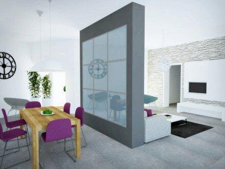 2014, projekt wnętrz parteru domu jednorodzinnego