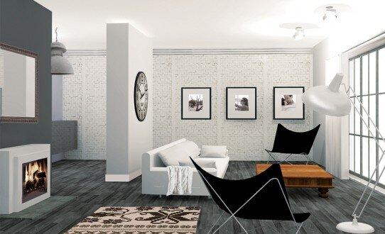 2008, projekt salon w stylu loftowym