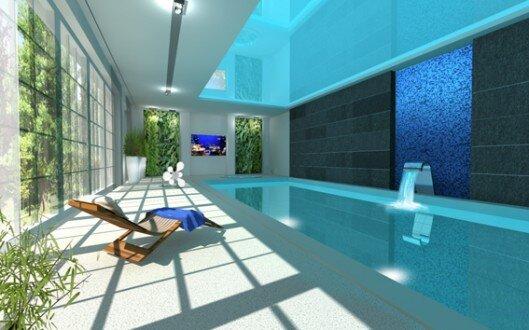 2010, projekt wnętrz basenu w domu jednorodzinnym