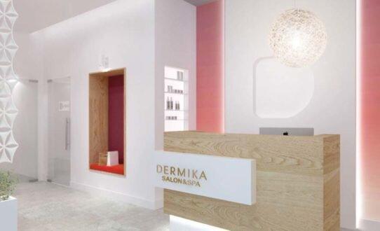 2017, projekt wnętrz salonów kosmetycznych Dermika w ramach rebrandingu marki