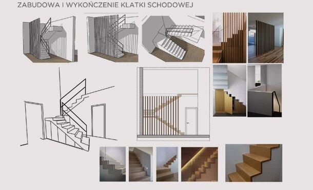 Elżbieta Z., 2017, projekt klatki schodowej, dom jednorodzinny pod W-wą
